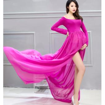 Free Size Chiffon Gown Maternity Dresses Photography Props Pregnant Women Long Dress Elegant Pregnancy Wedding Clothes Baby Gift - intl - 2