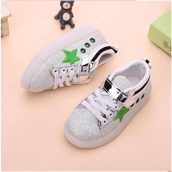 Freeshop Fashion Kids Unisex Star Glitter Pattern LED SneakersLight Up Flashing Shoes - Green (Free Pouch Monster) - 4