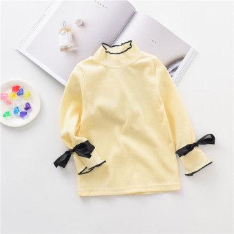 Harga Gadis kerah tinggi tanduk lengan bottoming kemeja t shirt t shirt (Nasi putih) Online Terjangkau