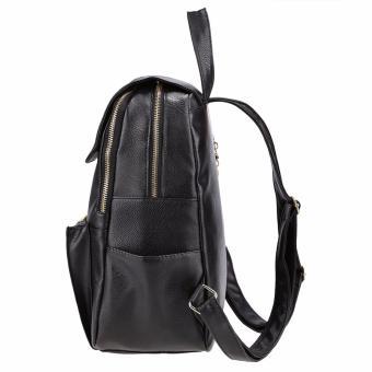 Gadis perjalanan buatan Ransel Tas bahu wanita kulit tas tangan tas sekolah Hitam .