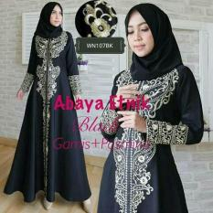 Gamis Abaya Bordir eksklusif Etnik ( Black & White)