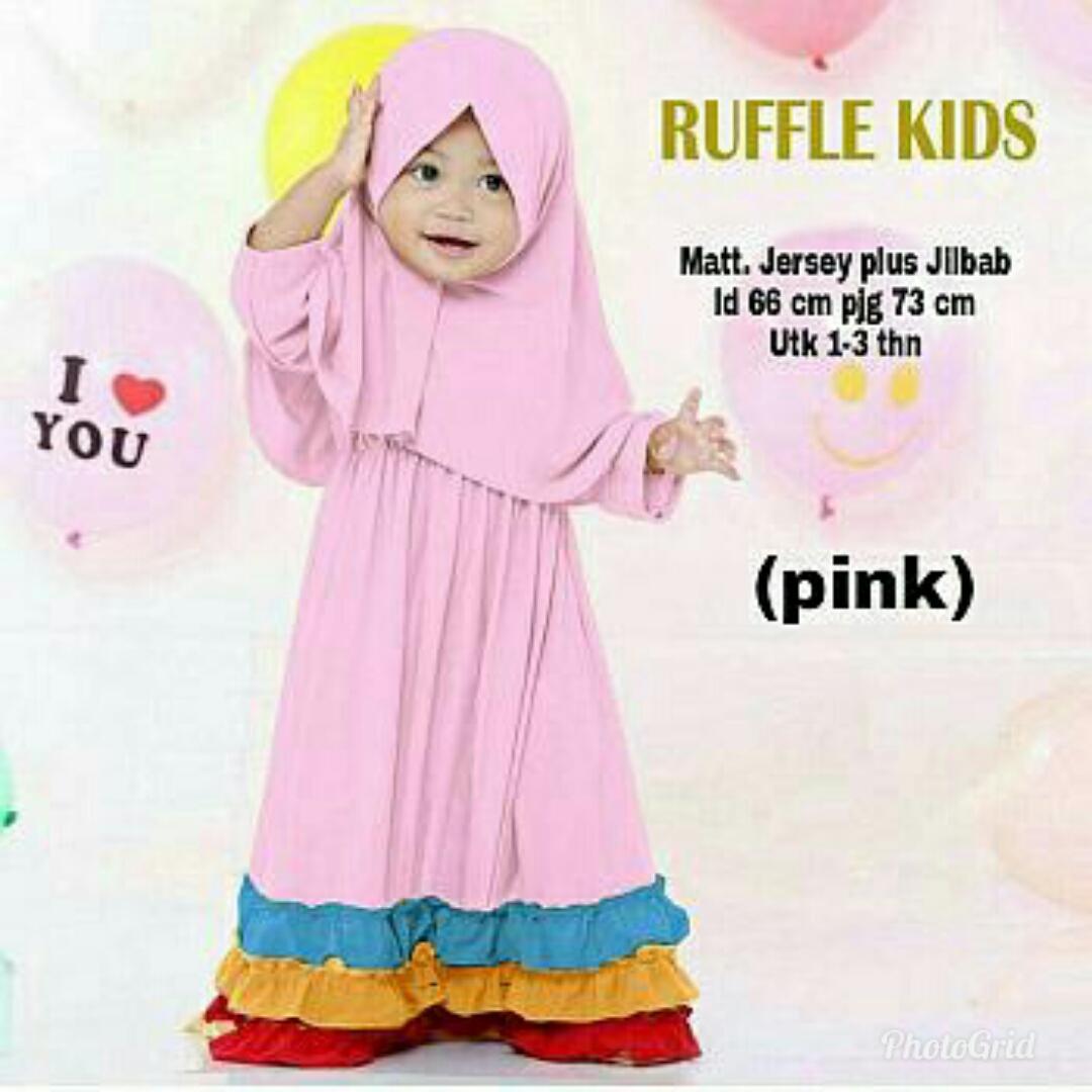 Gamis Anak / Baju Muslim Anak Perempuan / Dress Jersey / Bergo / Ruffle Kid
