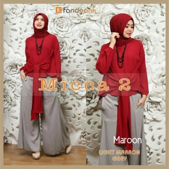 Gamis Baju Wanita Muslim Micca Syari Set 3in1 Maroon .