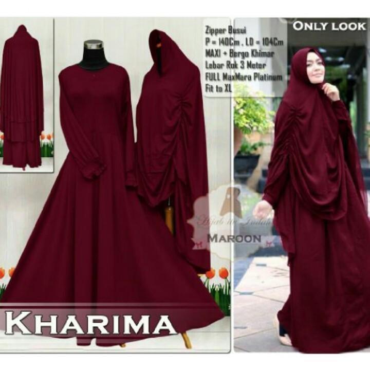 Flash Sale Gamis Jumbo Karima Jersey- Baju Gamis Wanita- Gamis Bigsize Maron