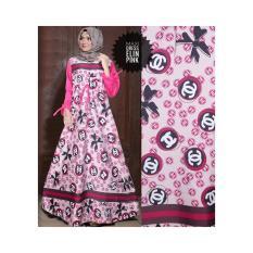 Gamis Maxmara Murah / Gamis Wanita /Gamis Tangan Panjang / Gamis Busui Muslimah Elin Warna Pink No Pasmina