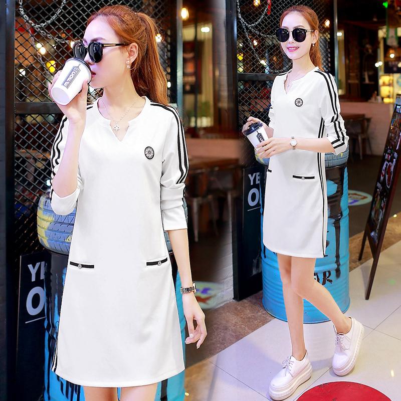 Flash Sale Gaun Kaos Oblong Wanita Aneka Warna Santai (Putih)