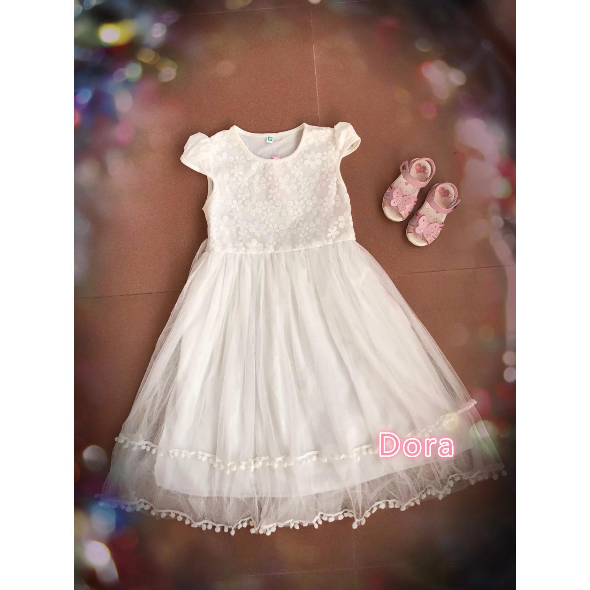 gaun pesta anak mewah putih 4,6.8.10 tahun / baju pesta anak putih/Gaun fashion/Dress fashion/Hadiah ulang tahun