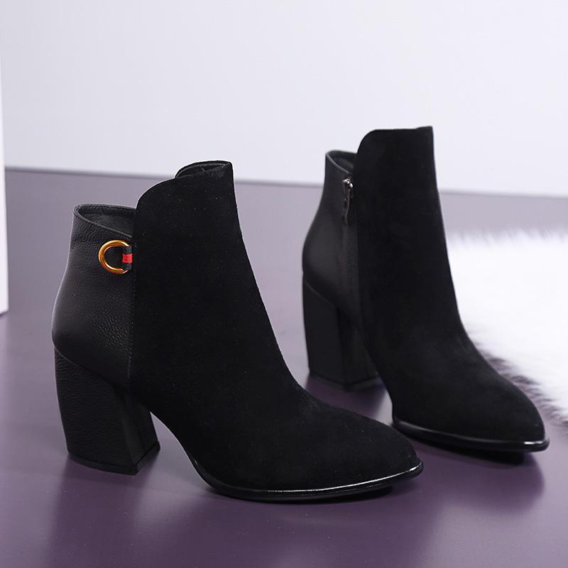 Gaya Inggris kulit ritsleting bertumit tinggi mode sepatu boot Martin sepatu  (Hitam) 4eaea881f6