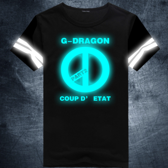 Gambar GD bercahaya reflektif neon katun lengan pendek ayat yang sama t shirt (Biru 12