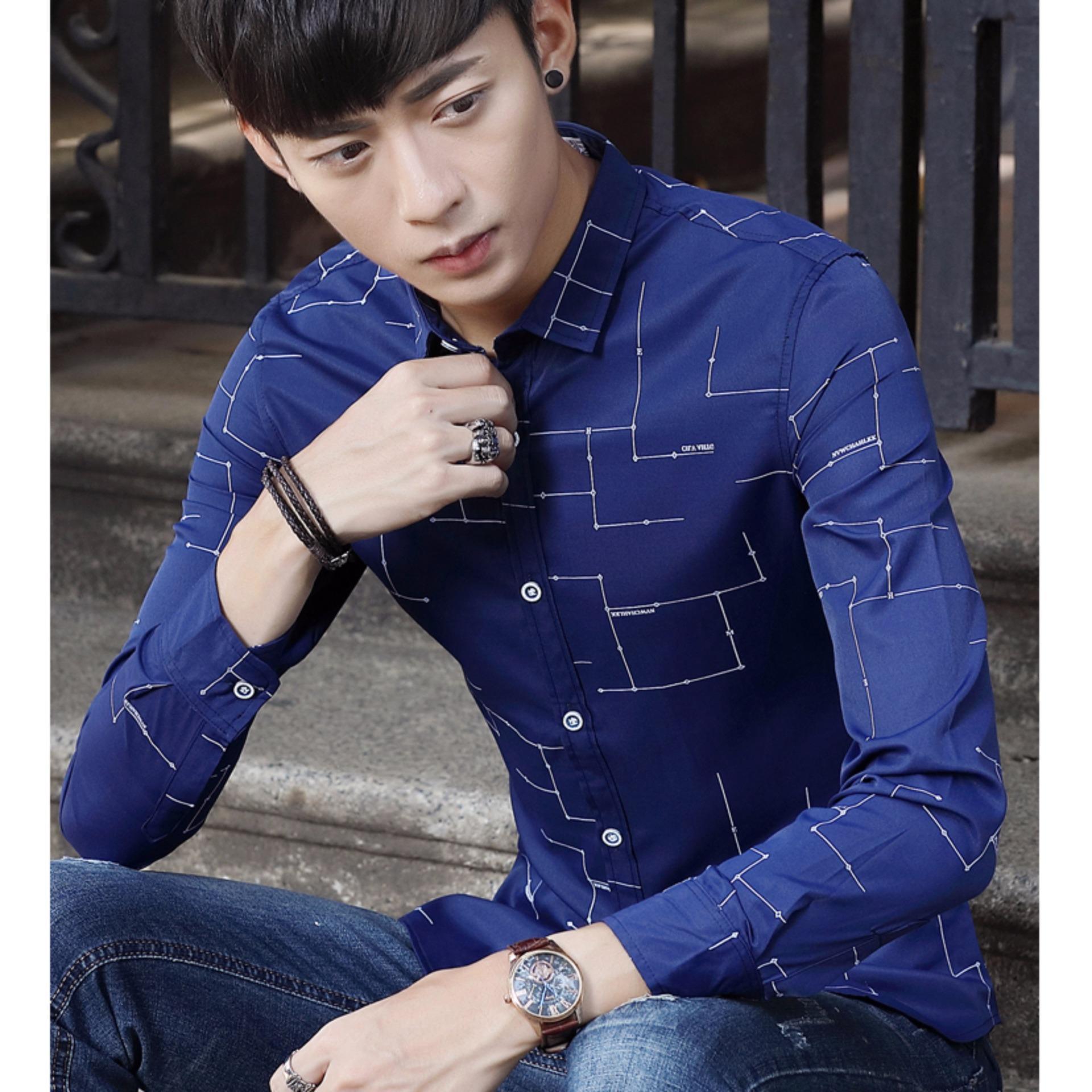 Korea Pria Lengan Pendek Katun Kasual Kerja Kemeja Button Downputih Hem Batik Hks001 03 Geometri Baju Panjang Pesta Berkancing Biru