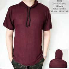 GFS Baju Pria Kaos T-Shirt Cowok Distro Basic Maroon Hoodie Polos - 170