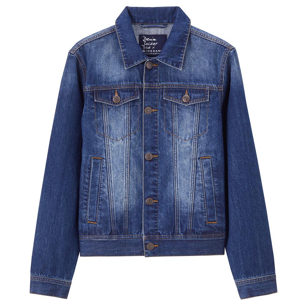 Flash Sale Giordano Laki-laki Slim Perkakas Jas Jeket Jeans (02 Mencuci Air Biru Tua Warna)