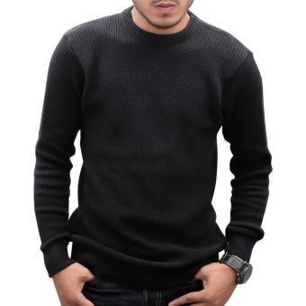Gomuda Sweater Rajut Pria O-Neck Cord - Hitam