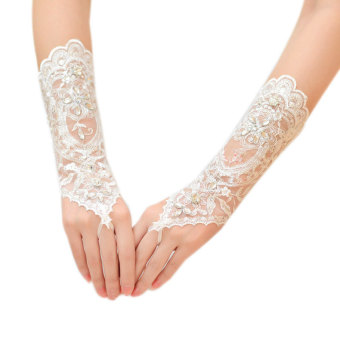 Graceful Lace Up Fingerless Flower Rhinestone Bride Weeding DressGloves - Intl