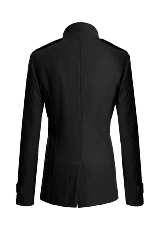 Gracefulvara Fashion Jaket Pria Jaket Panjang Berkancing GandaPeacoat Hangat Musim Dingin Puncak (Hitam) .