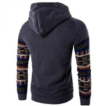 Gracefulvara New Men's Winter Slim Folk-custom Hoodie Warm Hooded Sweatshirt Coat Jacket Outwear Sweater - Dark Gray