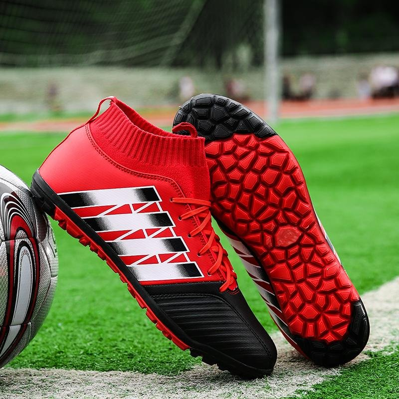 Flash Sale Grass Football Training Shoes Nail Shoes Men's Ankle Boots OutdoorSports Game Soccer Cleats Shoes ( Red ) - intl