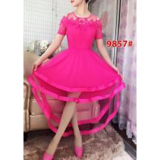 GSD - Dress Pesta asimetris/Dress brukat import/9857 FANTA