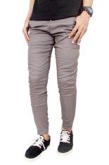 ... Gudang Fashion Chino Celana Panjang Slim Fit Abu abu