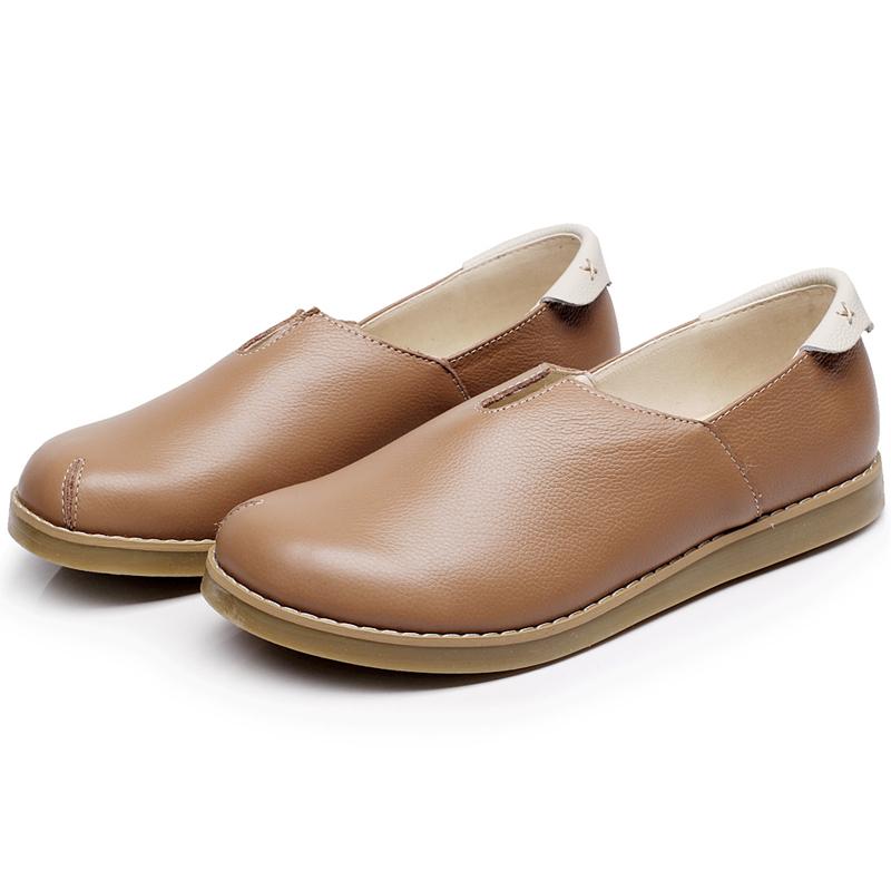 Flash Sale Guoluofei sastra flat shoes set kulit kaki sepatu wanita sepatu ( Unta) afaf2db245