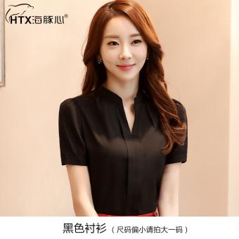 Hot Deals Haitunxin Korea Fashion Style sifon putih yard besar bottoming kemeja lengan pendek kemeja putih