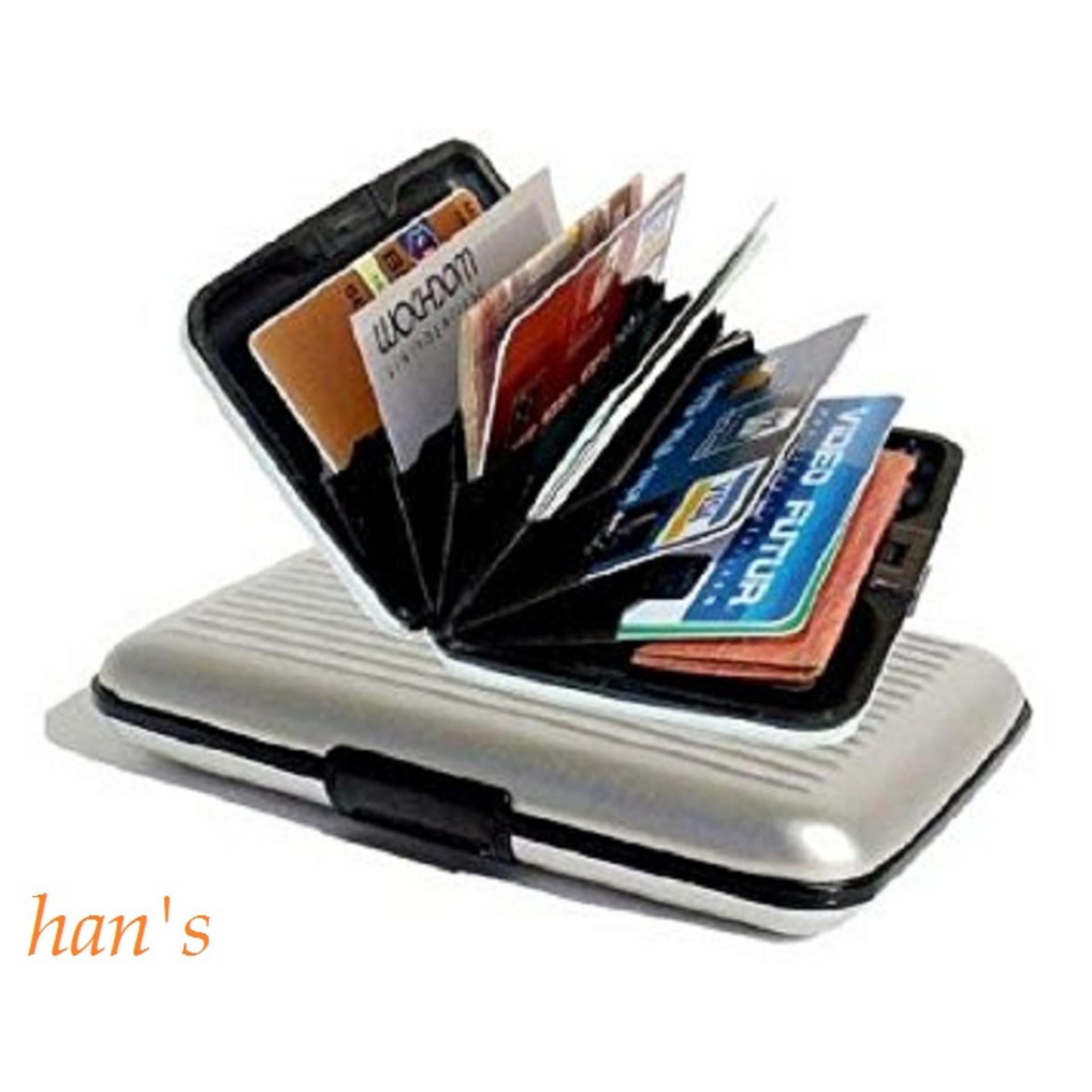 Hans Aksesoris Tempat Kartu Multifungsi Card Guard Alumunium Rsb Dompet Almunium Anti Air Caddy Aluminum Silver