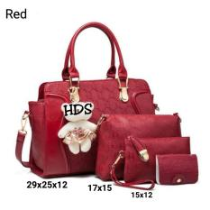 Hand Bag Korean Style Despacito 4 in 1 (Hand Bag / Tas Jinjing / Tas Bahu, Sling Bag / Tas Selempang, Pouch / Dompet, Key Holder) Red