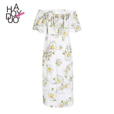 Haoduoyi2017 Fashion Kerah Strapless Dicetak Bagian Panjang Gaun (Putih pencetakan) (Putih pencetakan)
