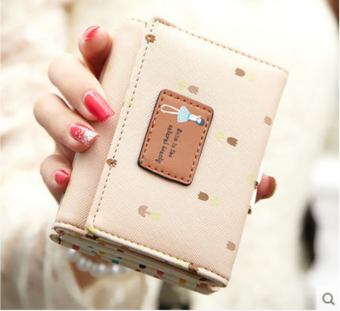 Harajuku Korea Fashion Style Siswa Perempuan Lipat Dompet Kecil Dompet (Beige)