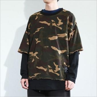 eShop Checker Harajuku Korea laki-laki angin mahasiswa t-shirt sweater (Kamuflase)