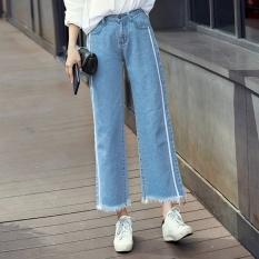 Harajuku Korea perempuan angin pinggang elastis kasual celana lebar kaki celana (Cahaya biru 1709)