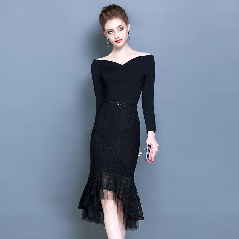 Cari Bandingkan Hepburn Perempuan Baru Lengan Panjang Gaun Pesta