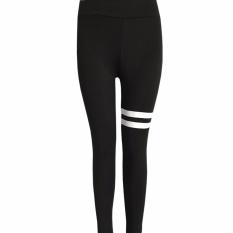 Hequ women Stripe Yoga Pants Workout leggings Running sports Ballet Dance activewear Fitness Outfits Black - intl