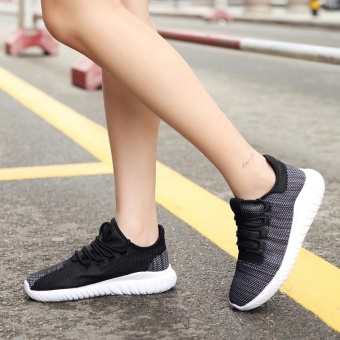 High quality fashion fly weave breathable Women sports shoesrunning shoes casual sneakers(black) - intl - 3