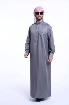 High Quality One-Piece Muslim Men Jubahs-Grey - intl - 4