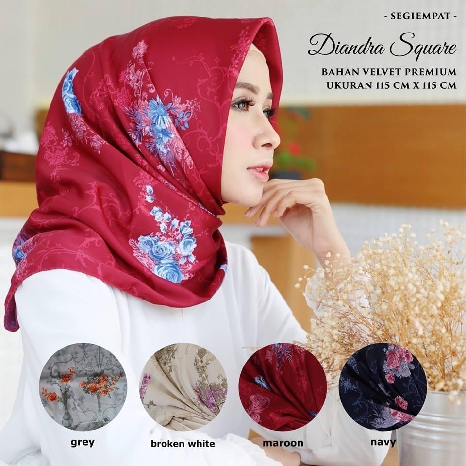 Penawaran Terbaik Jilbab Pashmina Instan Lipit Kerudung Hijab Maxmara Kananta Segi Empat Motif Bunga Kain Velvet Premium Square K