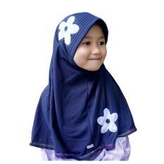 Hijab - Kerudung Anak - Bahan Kaos PE - Motif Bunga - Navy Blue / Jilbab