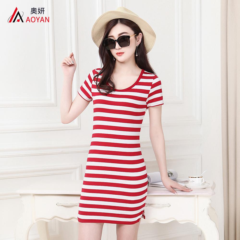 Hitam dan putih lengan pendek wanita gaun Slim t-shirt (Merah dan putih bergaris
