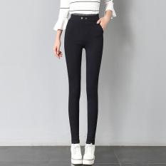 Hitam perempuan pakaian luar elastis pinggang celana kaki bottoming celana (Hitam) (Hitam)