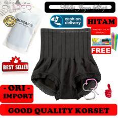 HOKI COD - Munafie Slim Pant Korset Original Import Pelangsing Celana Bahan Berkualitas - Hitam + Gratis Pulpen Lilin Unik Serba Guna Hitam Pekat - 1 Pcs
