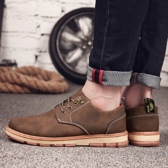 [HOT SALE] Men's classical safety shoes low cut Martin boots outdoor casual shoes(Brown) - intl - 5