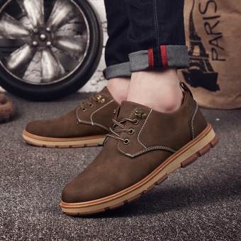 [HOT SALE] Men's classical safety shoes low cut Martin boots outdoor casual shoes(Brown) - intl - 3