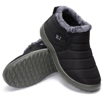 HOT Women's Winter Warm Fabric Fur-lined Slip On Ankle Snow Boots Sneakers Shoes black - intl - 3