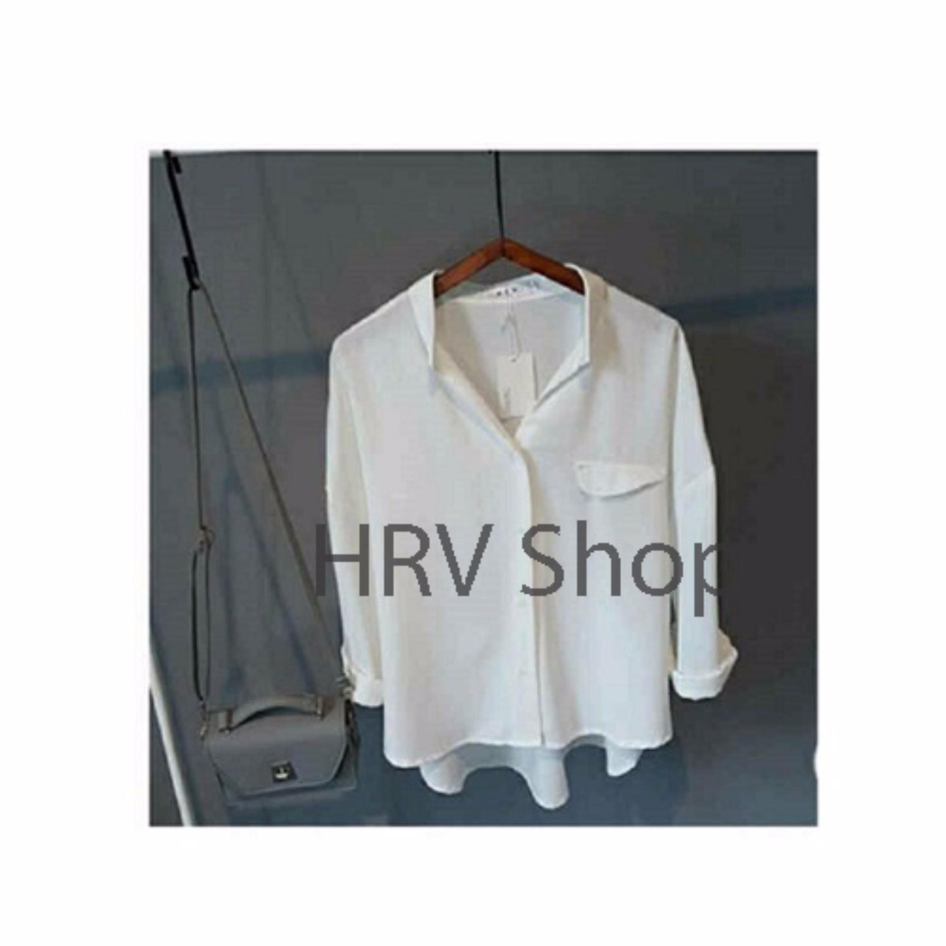 HRV Shop Kemeja Wanita Emma - Putih .