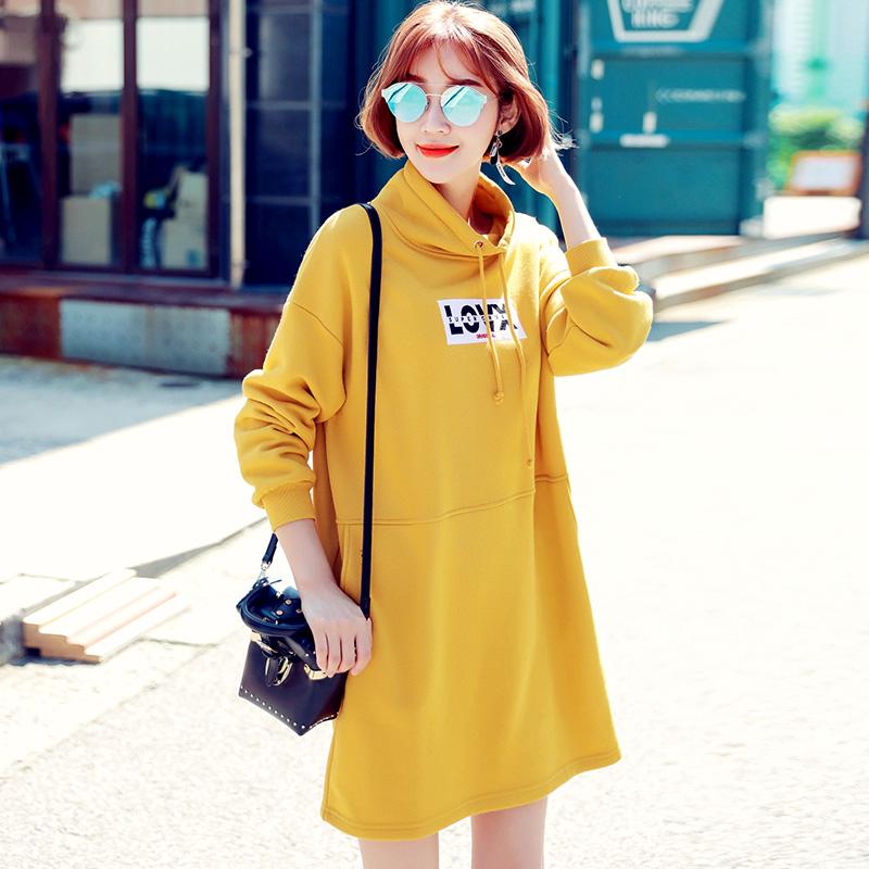 HSTYLE jn7268 Korea Fashion Style ditambah beludru warna solid baru lengan panjang gaun (Kuning)