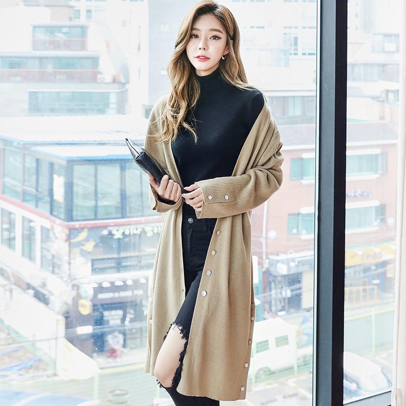 HSTYLE jq9731 Korea Fashion Style musim gugur baru bagian panjang merajut kardigan (Khaki)