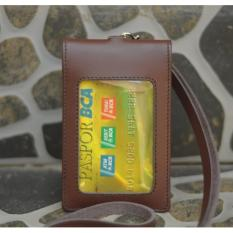 Id Card Holder Name Tag Double Magnet Tali Kulit