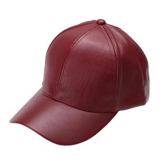 Galeri Gambar Unisex Leather Baseball Cap Outdoor Sport Adjustable Hat (Red) - intl Lengkap