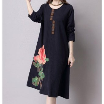 Harga Retro Ladies Printing Paste Loose Long Sleeved Dress National Wind Cotton Linen Girls Fasionable Dress - intl
