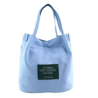 Women Fashion Canvas Travel Shoulder Bag Large Tote Ladies Purse Sky Blue - intl